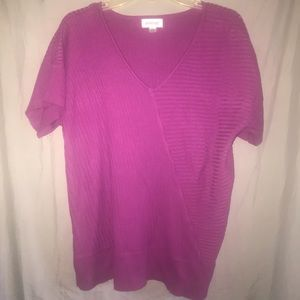 Avenue Berry Short Sleeve Ribbed Sweater